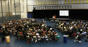 President Ender speaks to the full-time faculty and staff of GRCC.