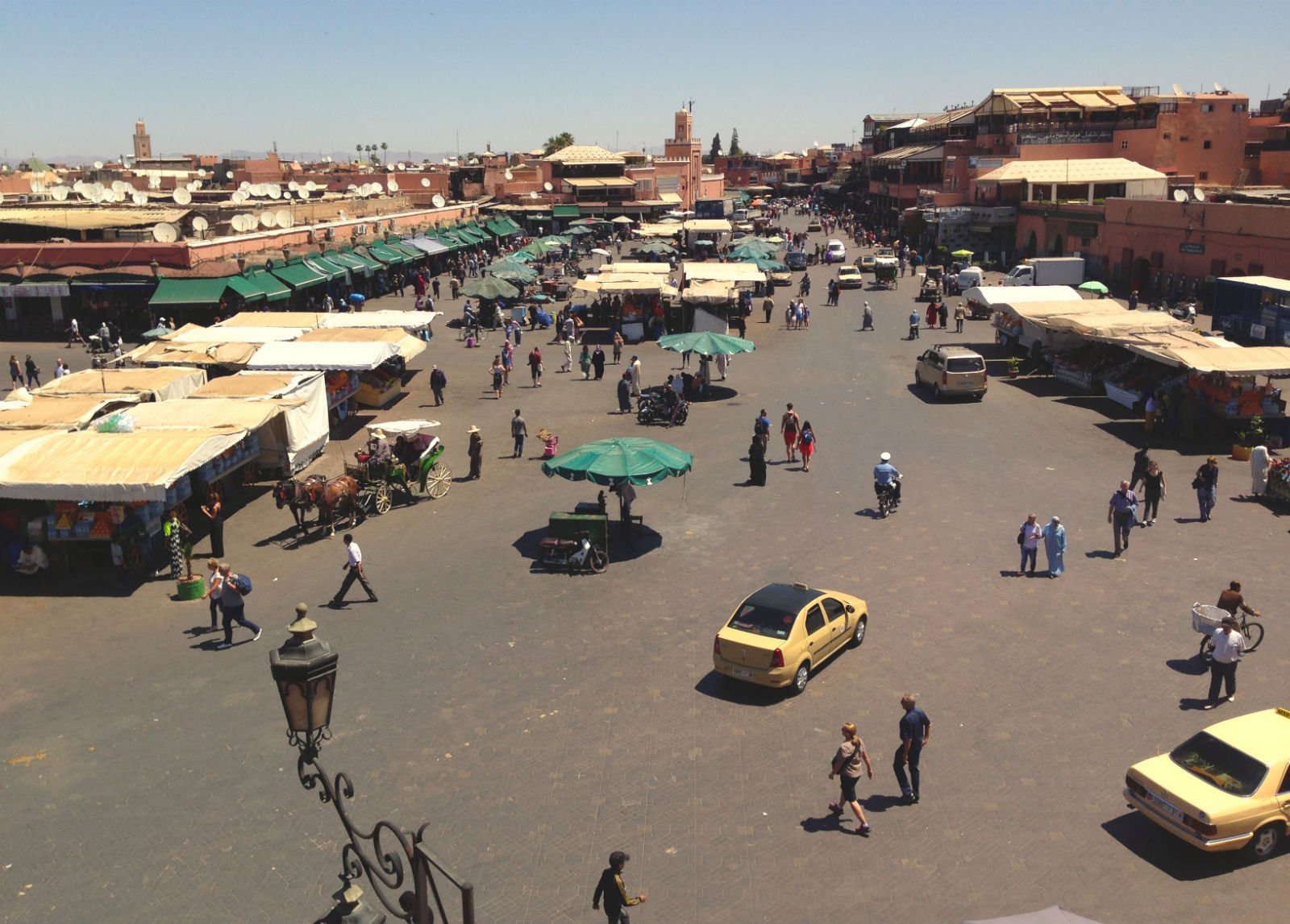The main square in Marrakech, Morocco is one of the most popular tourist destinations in Morocco