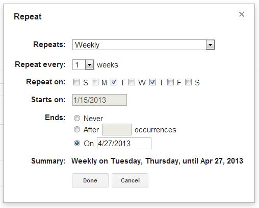 event repeat settings