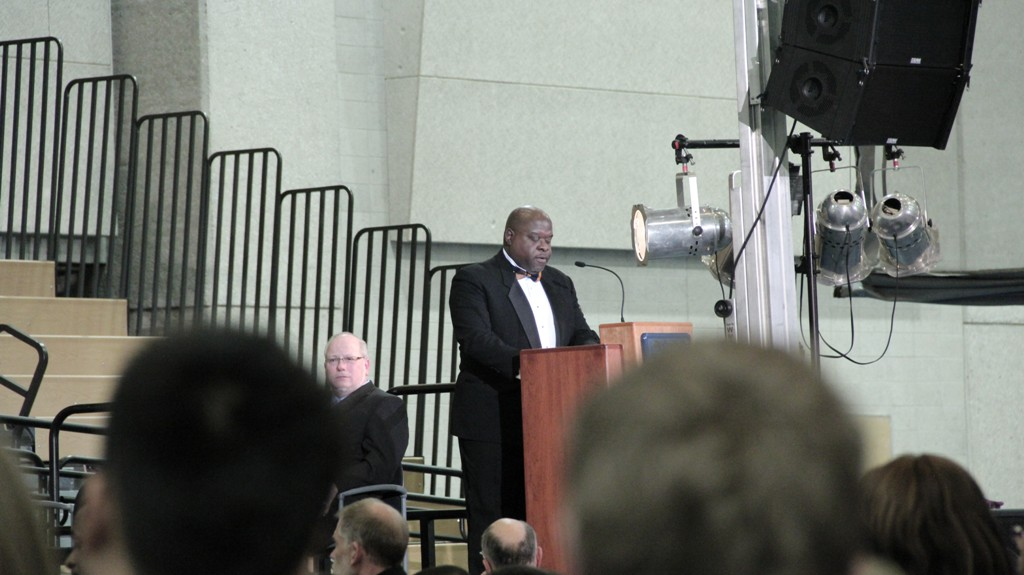 """Stan Greene, 52, recites the """"I Have a Dream Speech"""" in honor of Martin Luther King Jr."""
