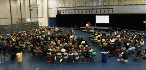 A wide shot of the entire full-time faculty and staff of GRCC.