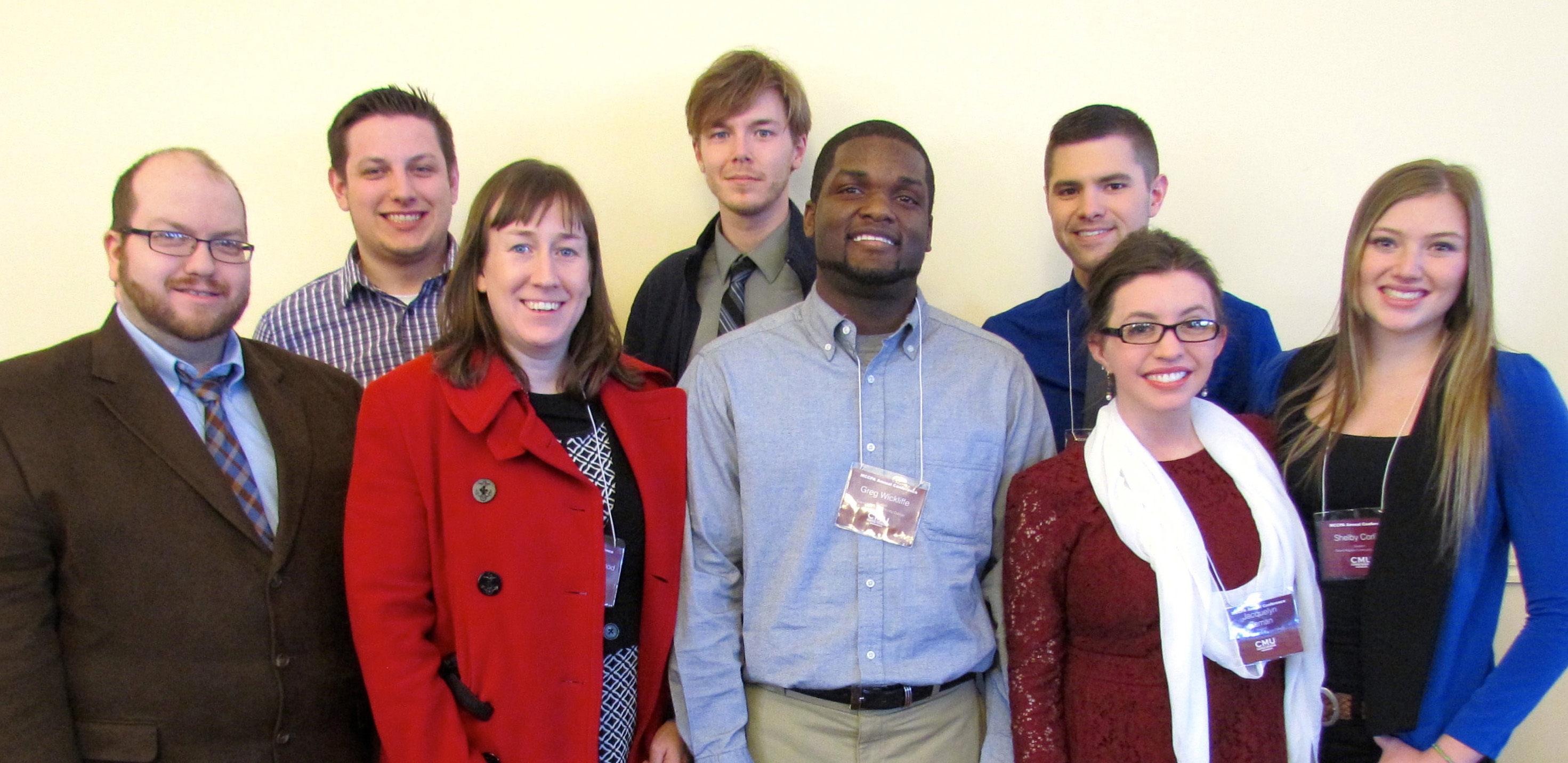 From left to right, Web Editor Chris Powers, Sports Editor Zach Watkins, Faculty Adviser Jennifer Ackerman-Haywood, Editor-in-Chief Joshua Vissers, Greg Wickliffe, Multimedia Editor Clayton Cummins, News Editor Jacquelyn Zeman and A&E Editor Shelby Corliss, The Collegiate's group of representatives at Central Michigan University.