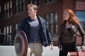 Chris Evans and Scarlet Johansson star as Captain America and Black Widow in The Winter Soldier.