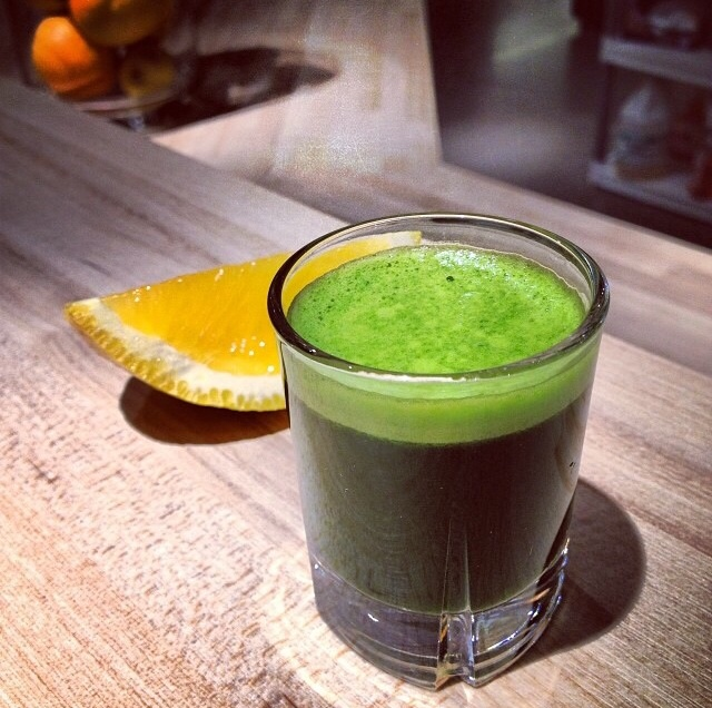 Wheatgrass shot at Malamiah Juice Bar Photo by Allison Arnold