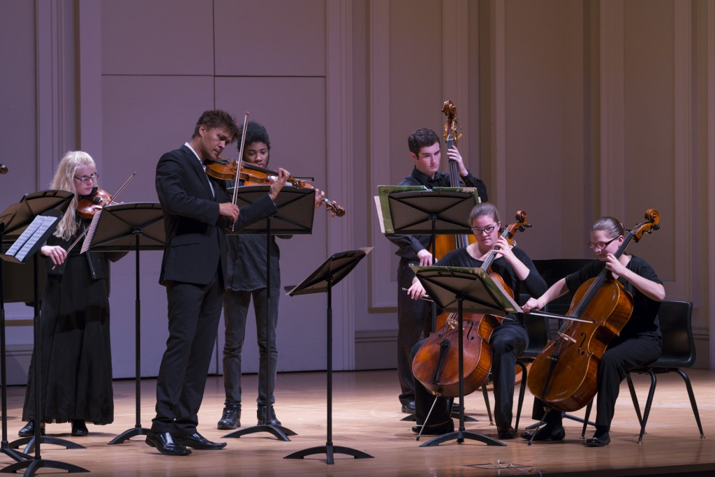 """Libor Ondras, second from right, lead the orchestra in Allegro non Molto """"Summer"""". Photo by Jonathan D. Lopez"""