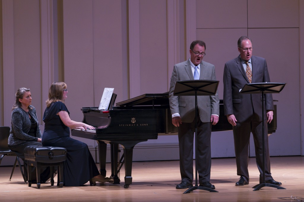 """William Bokhout and Scott Bosscher performed """"Ave verum"""" as Debora DeWitt played the piano. Photo by Jonathan D. Lopez"""