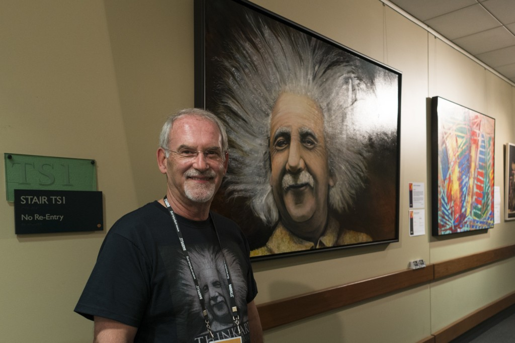 """Einstein"" by Michael Feehan is large oil painting located at DeVos Place Convention Center.  Photo by Jonathan D. Lopez"