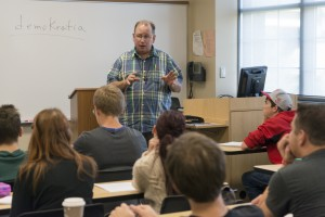 Professor Harold Lee teaching his class, The Art of Being Human.  Photo by Jonathan D. Lopez