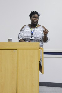 Student Alliance President Arielle Brown addresses the groups last meeting of the semester. Photo by John Rothwell