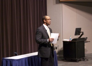 Hawkins spoke before  answering questions from GRCC community members. Photo by Jacquelyn Zeman