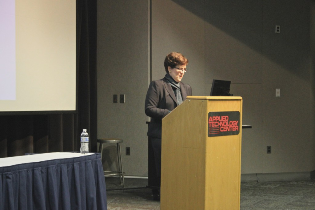 Chesley speaking in the ATC auditorium. Photo by Kayla Tucker