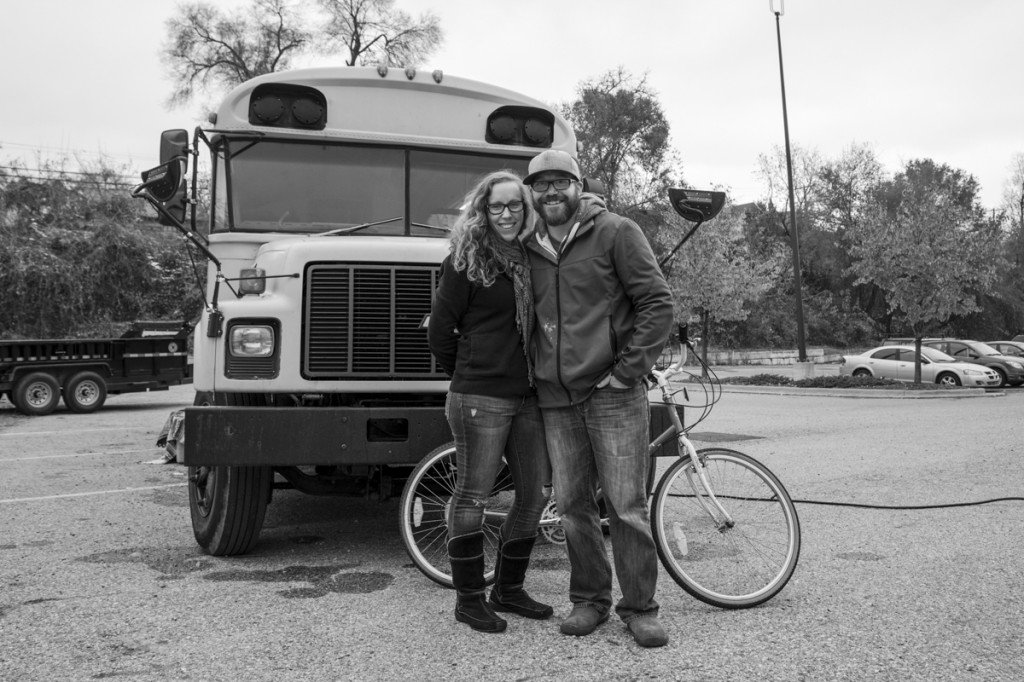 Nate and Jessica Totten in front of their converted bus.  Photo by Jonathan D. Lopez