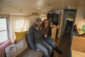Nate and Jessica Totten nestled in their main room aboard Ruby.