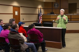 Smolenski speaks to a group of students visiting the court. Photo by Jonathan D. Lopez
