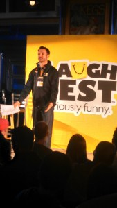 Grand Rapids comedian Matt Lauria opening the Blackout Diaries with some LaughFest announcements.  Photo by Corey Tucker