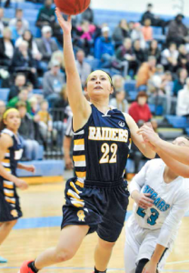 GRCC's Andrea Straw with a layup. Photo by John Rothwell.