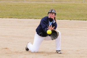 GRCC infielder, Sam Adams, takes a ground ball during practice. Photo by John Rothwell