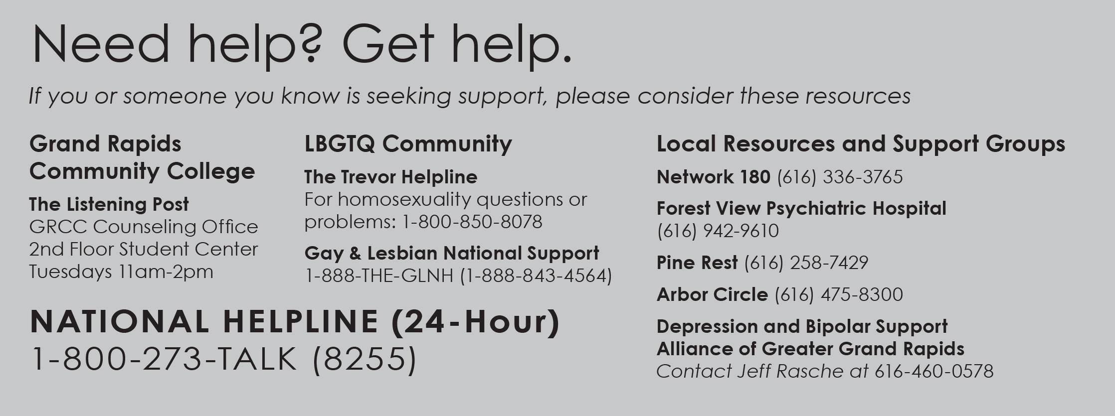 depression hotlines
