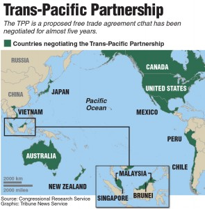 Map of countries in the Trans-Pacific Partnership. Tribune News Service 2015
