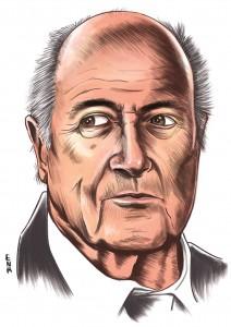 300 DPI Erik Nelson Rodriguez Illustration of Sepp Blatter, former FIFA president