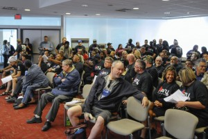 ATU Grand Rapids members and riders fIlled The Rapid Board meeting to demand that the Board stop the efforts to take away employee pensions