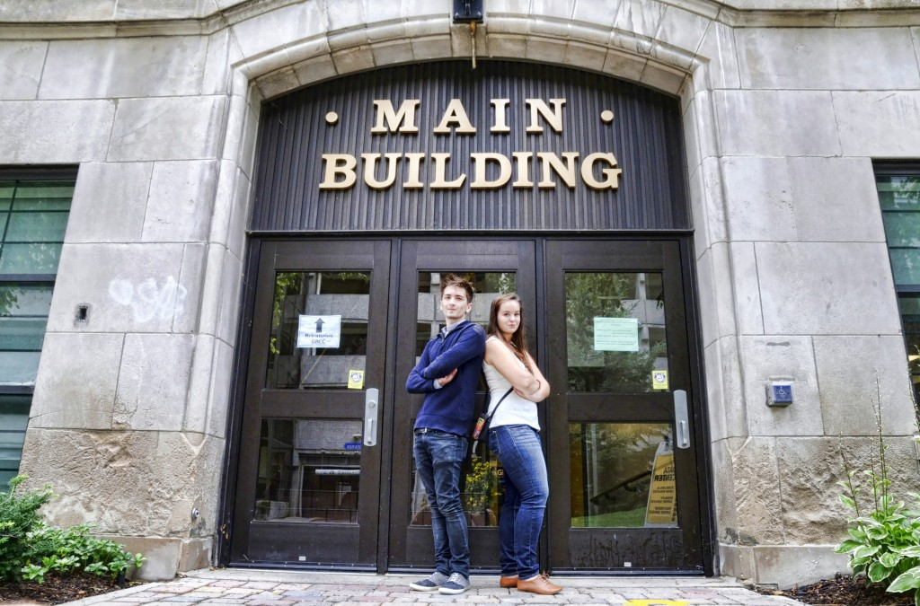 Gage Dionne and Savannah Havens in front of the Main Building. Photo by John Rothwell.