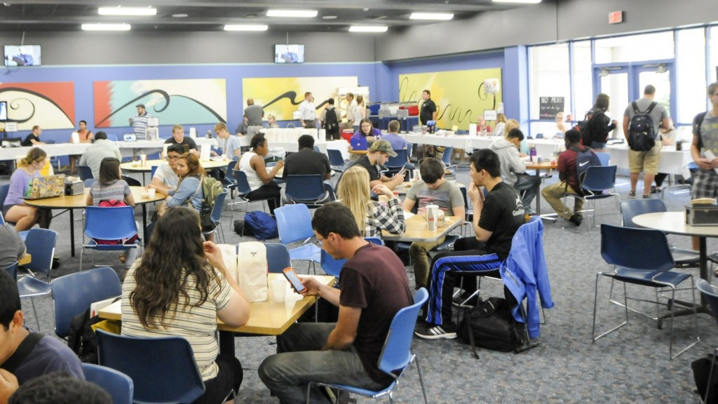 Students gather in the Raider Grille to enjoy food, hanging out with friends, and learning about how to be involved outside of classes. Photo by John Rothwell