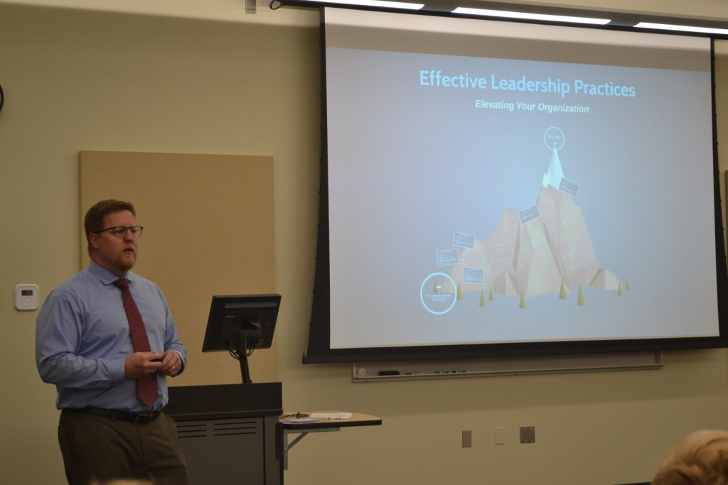 Mullen speaking to the student leaders.