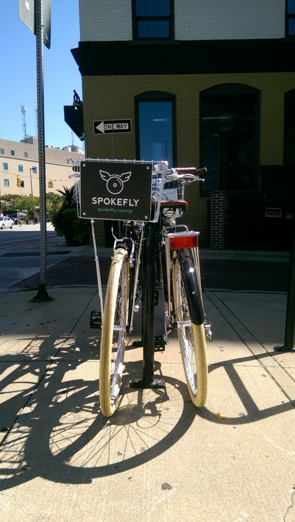 Spokefly bikes are available all over downtown Grand Rapids.