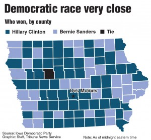 Graphic showing winners of the Democratic Iowa caucus. TNS 2016