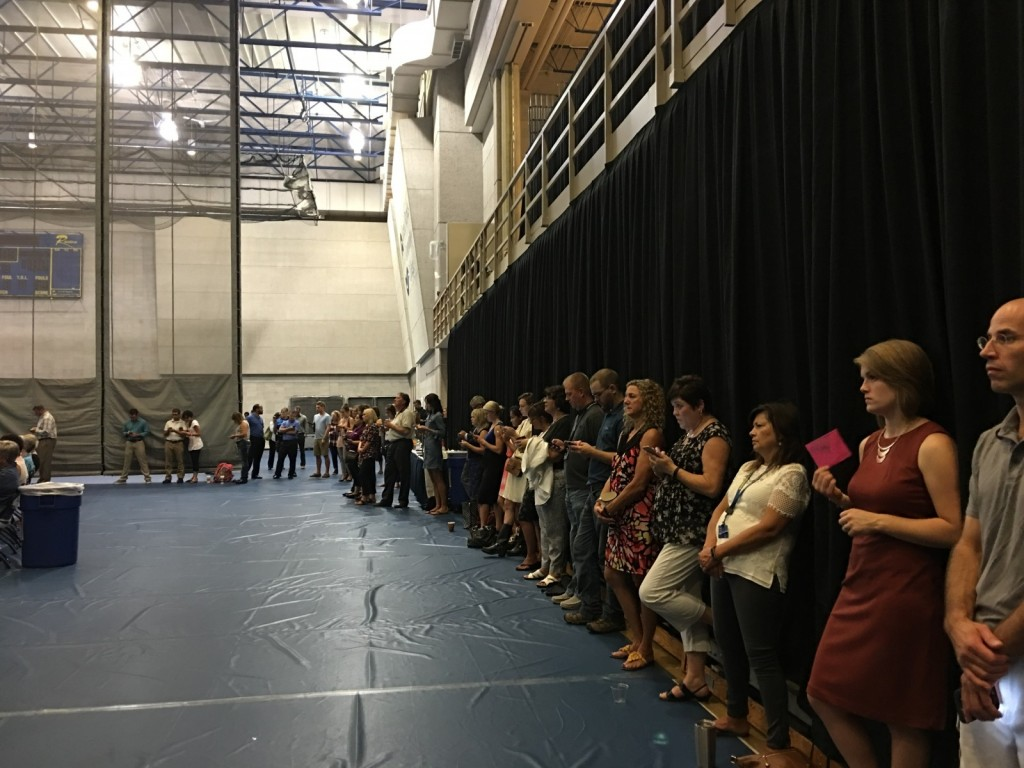 Faculty and Staff text in responses to guest speaker Terrell Strayhdorn's interactive activity during the Fall Opening Day activities.