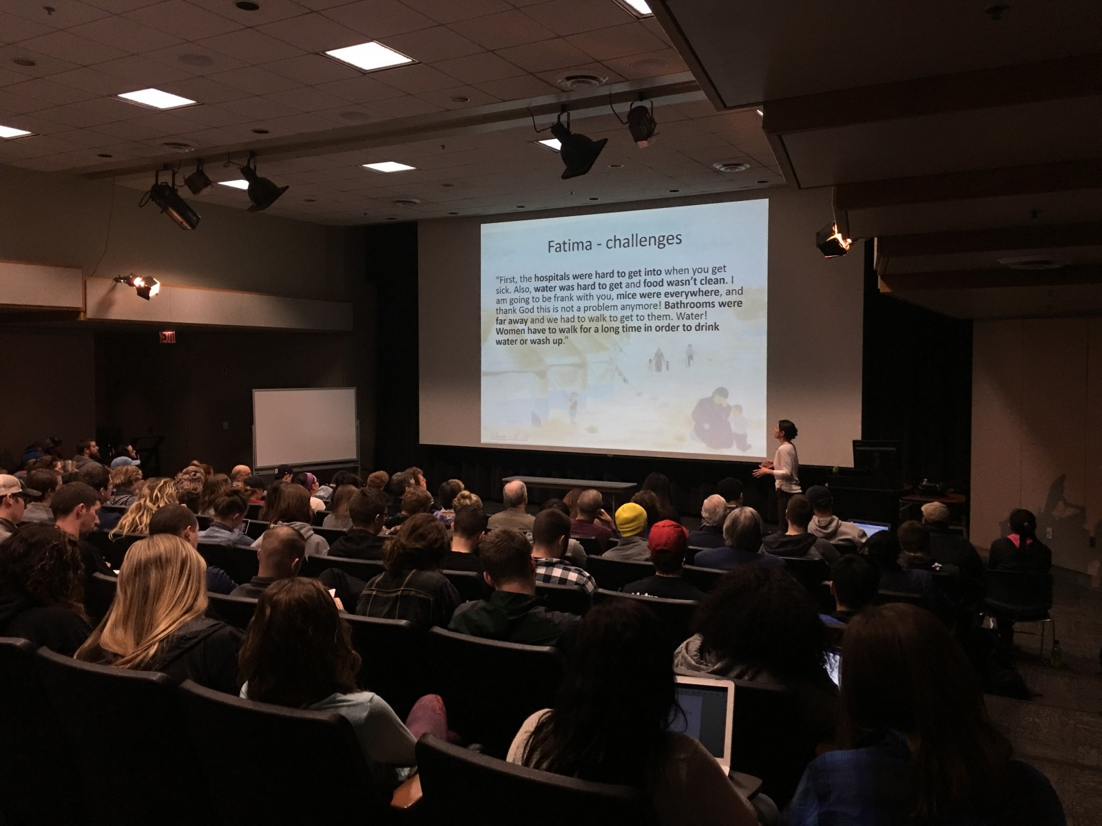 The ATC auditorium was full Tuesday night as WVU Geography Professor speaks on the Syrian Refugee Crisis.
