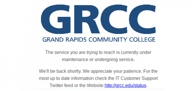GRCC website down February 5, 2019.